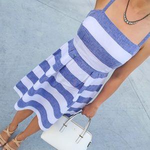LOFT Striped Pleated Sun Dress